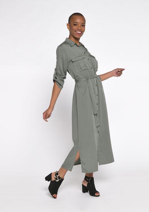 Utility hemd jurk - KHAKI MILD - 08601089_4318