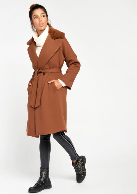 Lange jas met kraag in bont - CARAMEL - 23000027_1953