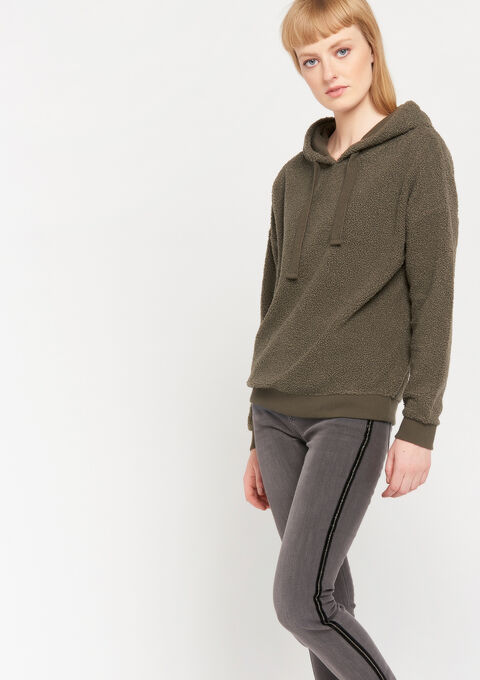 Teddy sweater met kap - KHAKI CARGO - 03001389_4316