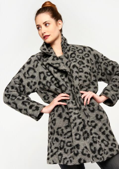 Oversized jas met luipaardprint - GREY GALET MEL. - 929461