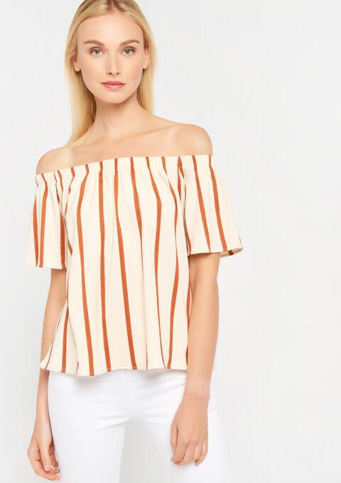 Carmen t-shirt met strepen - RED CINNABAR - 02300264_5305