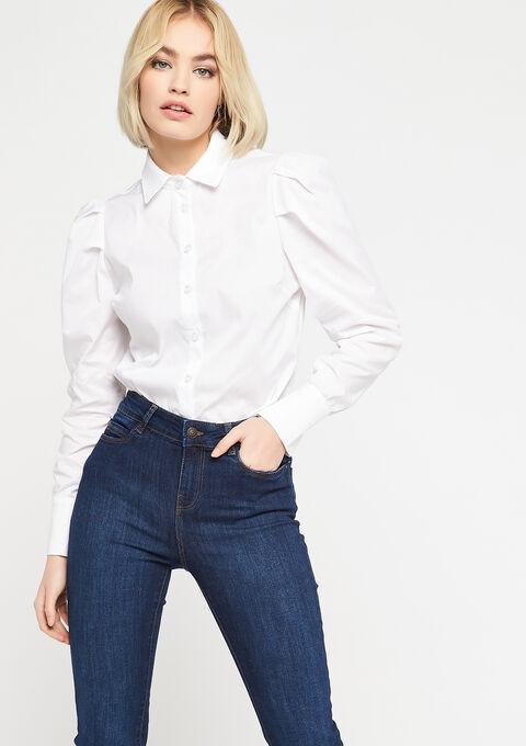 Hemd met popeline en pofmouwen - NATURAL WHITE - 05701344_2510