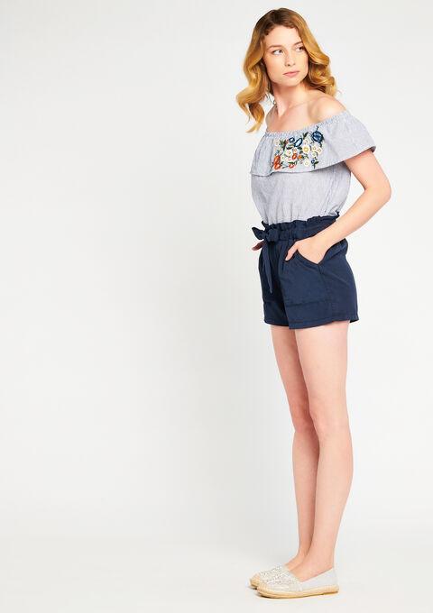 Shorts en tencel lanière - NAVY BLUE - 06003679_1651
