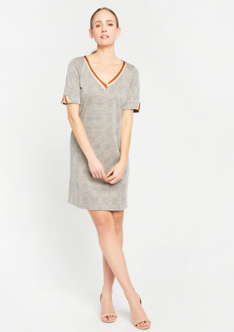 Rechte jurk met v-hals & print - BROWN SHELL - 08100572_3703