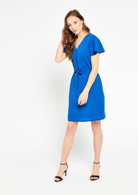 b46bdef37ec76 Robe droite, col-v, manches courtes - ELECTRIC BLUE - 08100664_1619