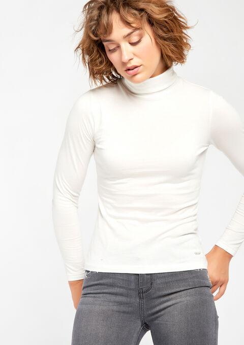 T-shirt met rolkraag & lange mouwen - IVORY WHITE - 02005634_1011