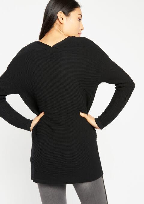 Lange cardigan in katoen - BLACK - 04100588_1119