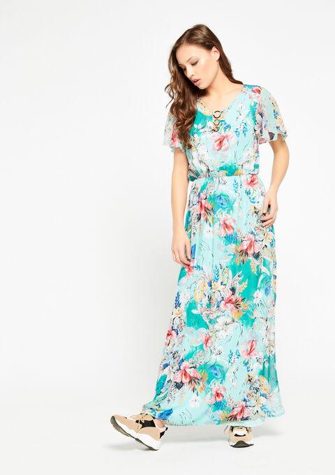 Robe longue à fleurs, col-v - LIGHT GREEN - 08600136_1822