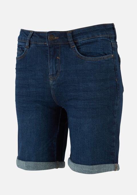 Halflange denim shorts - DARK BLUE - 22000182_501
