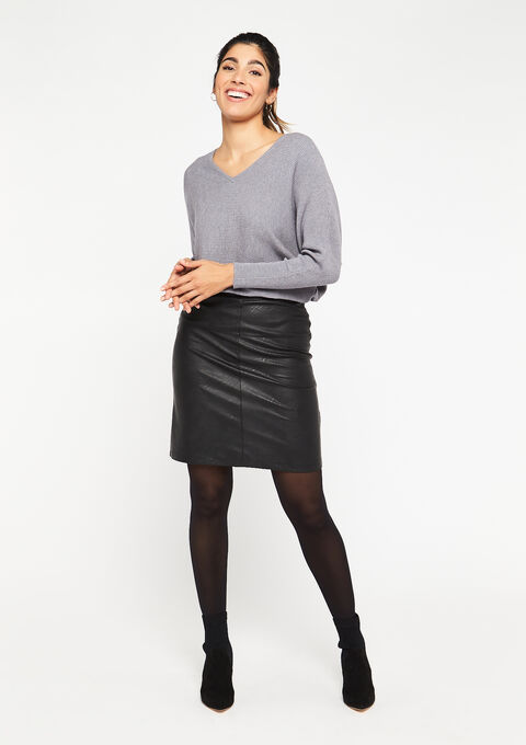 Rok in imitatieleer - BLACK - 07100649_1119