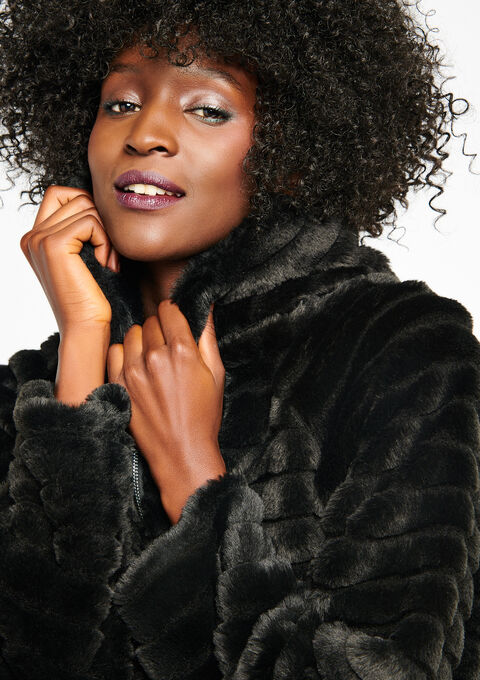 Korte mantel in imitatiebont - BLACK - 23000059_1119