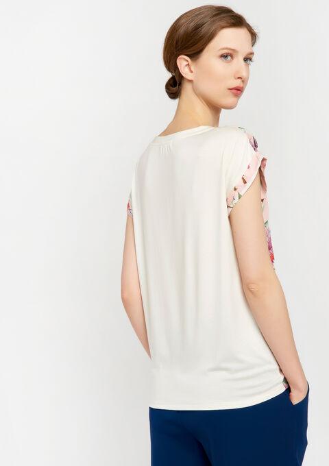 T-shirt met bloemen en strepen - PEACH BUD - 02300269_1963