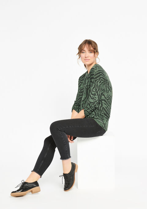 Sweater met zebra-print & lurex - KHAKI DARKY - 03001346_4208