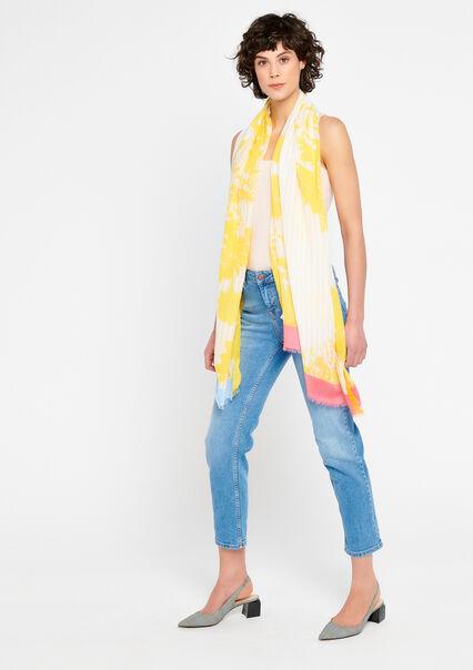 Sjaal met strepen en bloemen - DANDELION YELLOW - 934144