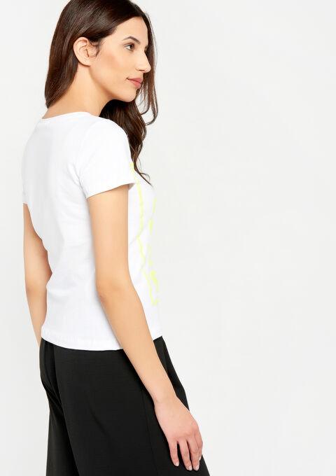 T-shirt met opdruk, fluo details - WHITE ALYSSUM - 02300222_2502