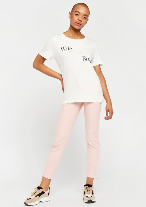 T-shirt met slogan - WHITE ALYSSUM - 947741