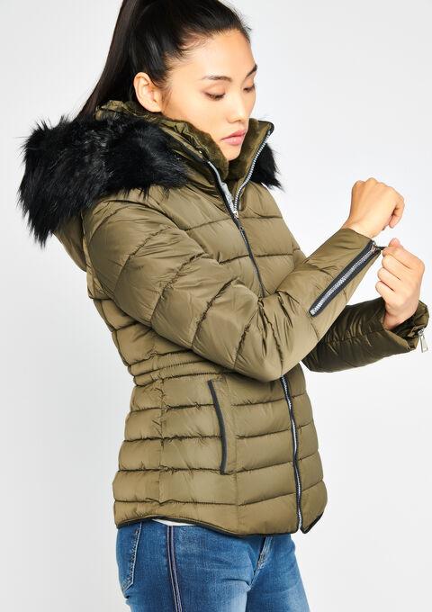Gewatteerde jas met kap - KHAKI FIG - 23000040_4305