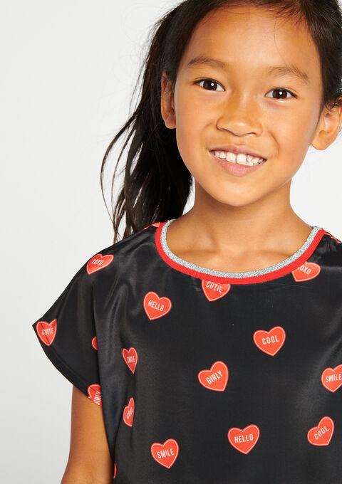 T-shirt in 2 stoffen met hartjesprint - BLACK - 02005647_1119