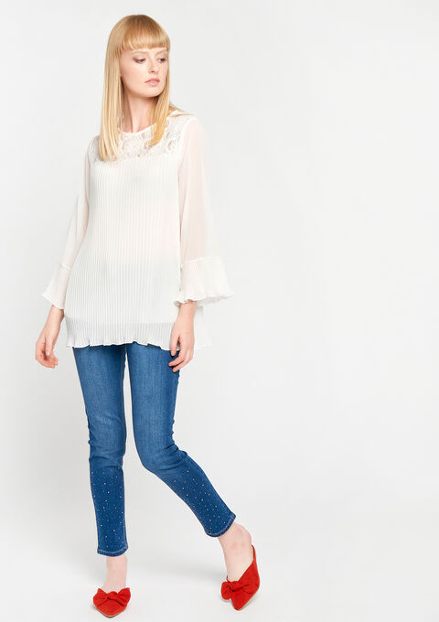 Pleaded blouse with lace - OFFWHITE - 05700094_1001
