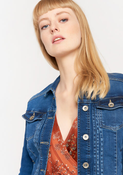 Veste courte en jeans - MEDIUM BLUE - 09100235_500