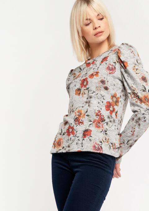 Sweater met bloemenprint - MEDIUM GREY MEL - 03001457_1068
