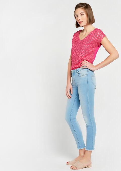 T-shirt met zigzagpatroon, v-hals - AKEBIA FUSHIA - 02300189_5613