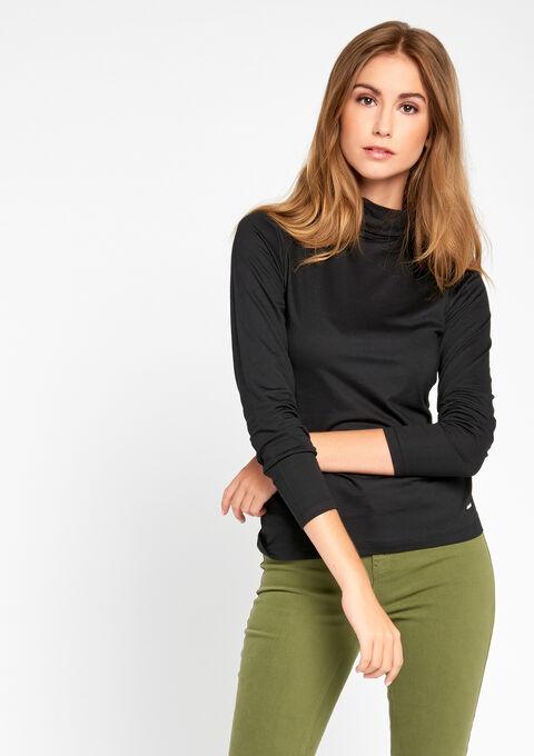 T-shirt met rolkraag & lange mouwen - BLACK - 02005634_1119