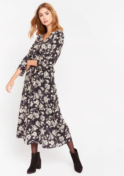 Maxi jurk met bloemenprint - BLACK - 08601031_1119