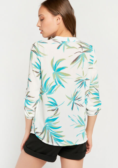 Blouse met tropische print & lovertjes - LIGHT AQUA - 05700414_1733