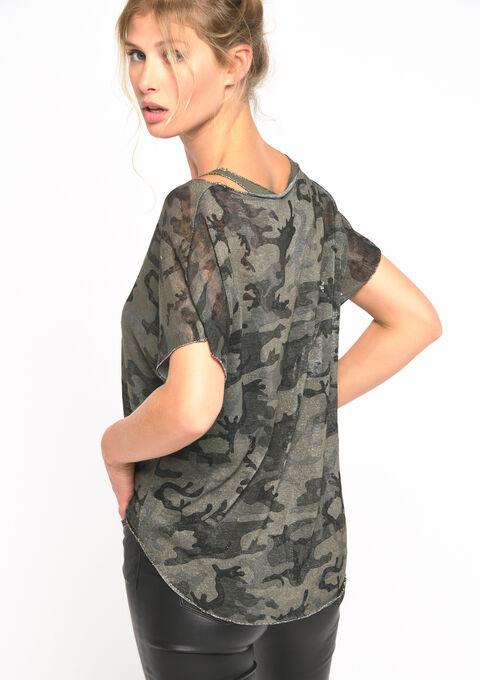 T-shirt camouflage avec débardeur - KHAKI DUSKY - 02300509_4402