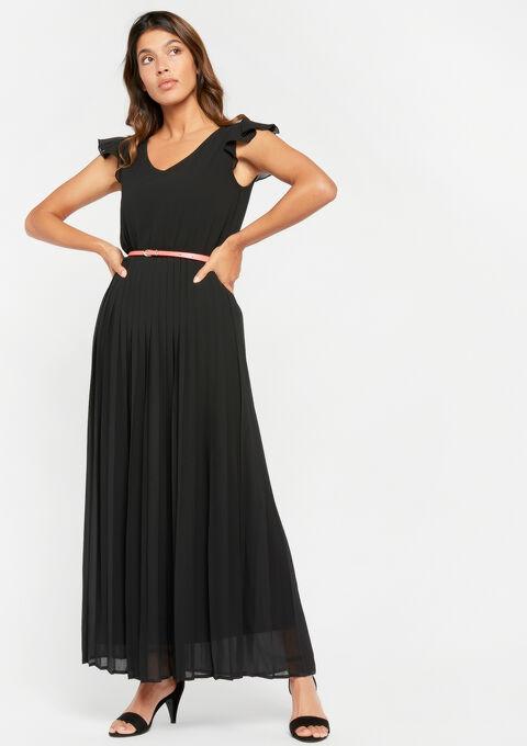 Lange jurk met riem - BLACK - 08600058_1119