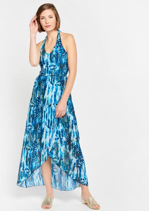 Maxi Jurk Turquoise.Maxi Jurk Met Tie Dye Print Lolaliza