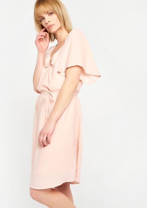 Effen jurk, v-hals met ring - PINK CALM - 08100453_4102