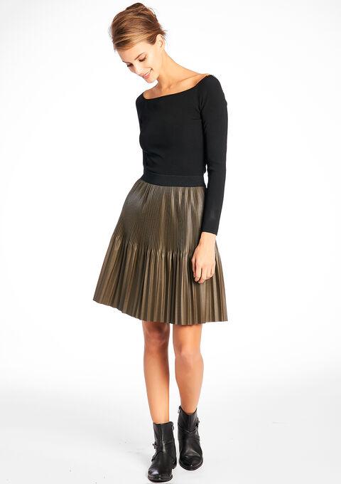 5338ace75add49 Plain pleated skirt with satin effect - KHAKI BRONZE - 07001655_1850