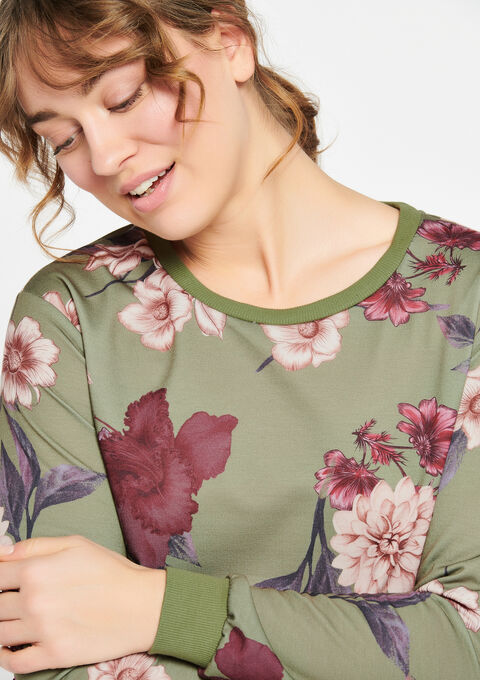 Sweat met bloemenprint - KHAKI DARKY - 03001334_4208