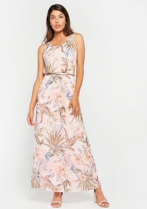 Lange jurk met bloemenprint - PINK CALM - 08600124_4102