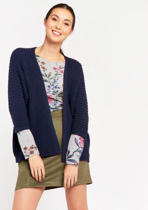 Cardigan met kimono-mouwen - PEACOAT BLUE - 04100736_1655