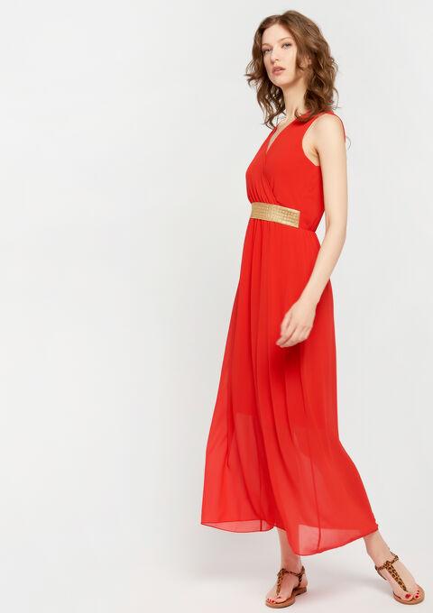 Effen maxi-jurk met cache coeur-hals - CORAL GERBERIA - 08600142_5405