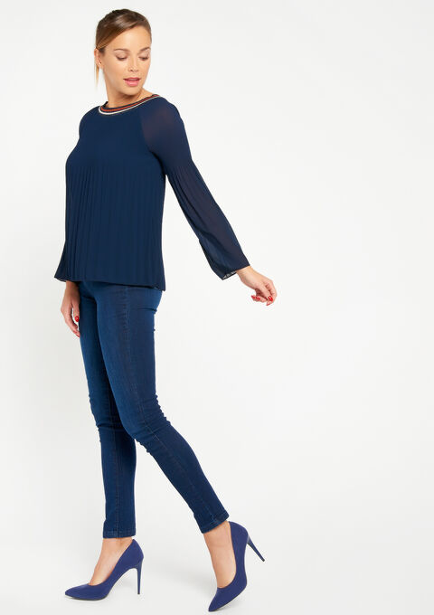 Effen blouse in plissé - NAVY MILD - 05700223_2712