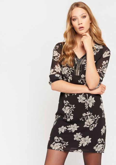 Rechte jurk met versierde hals - BLACK - 08101545_1119