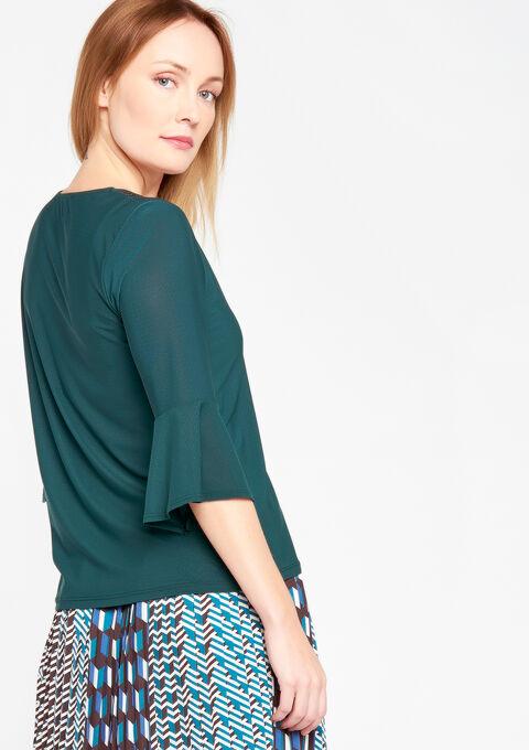 Effen t-shirt met v-hals - TURQUOISE SPRUCE - 02300179_3101