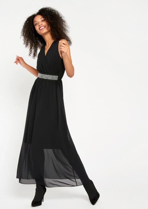 Maxi-jurk met versierde riem - BLACK - 08600089_1119