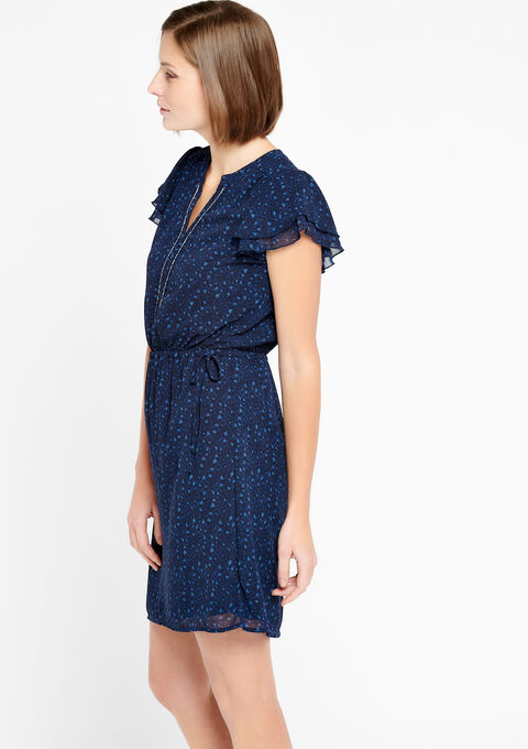 Korte jurk met v-hals - BLACK IRIS - 918649