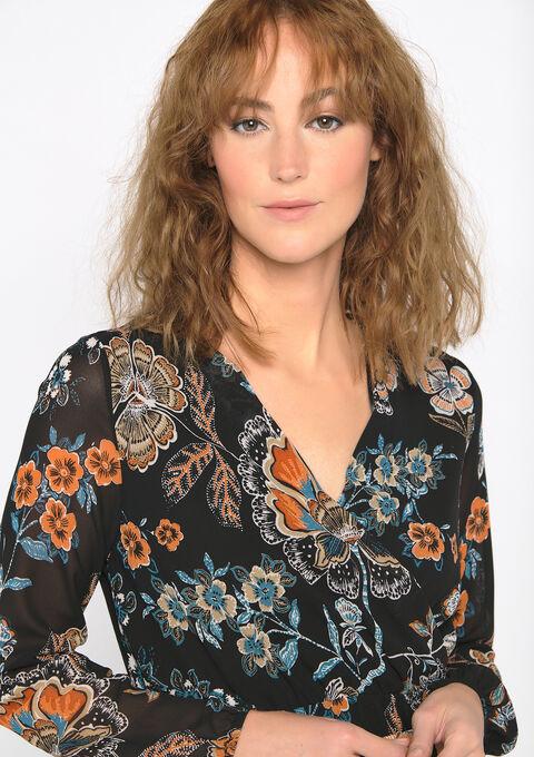 Lange jurk met ceintuur en bloemenprint - GREEN TEAL - 08601001_4503