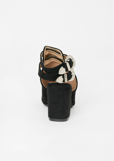 Faux suede sandals with buckles - BLACK - 13000452_1119