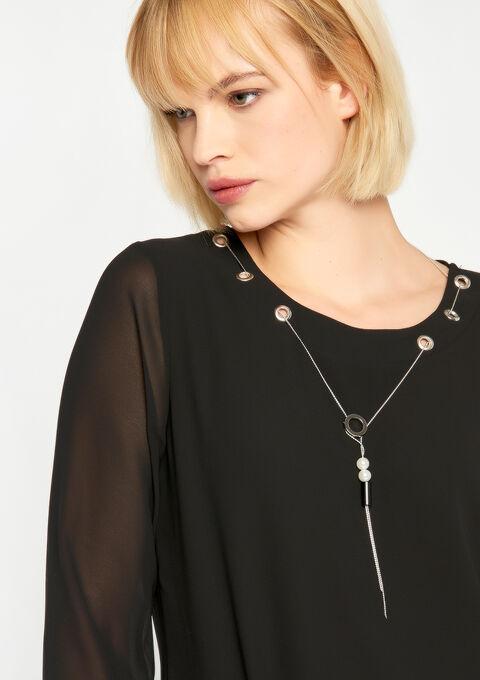 Effen blouse met juweel - BLACK BEAUTY - 05700251_2600