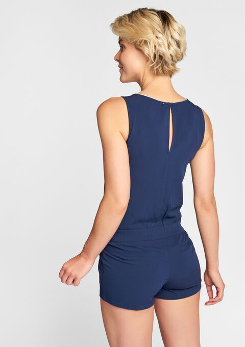 Playsuit with lurex piping - MIDNIGHT NAVY - 06003504_1663