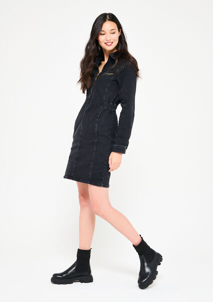 Denim overhemd jurk met rits - BLACK BEAUTY - 08102601_2600