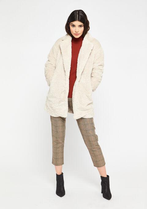 Oversized teddy coat - OFFWHITE - 23000196_1001
