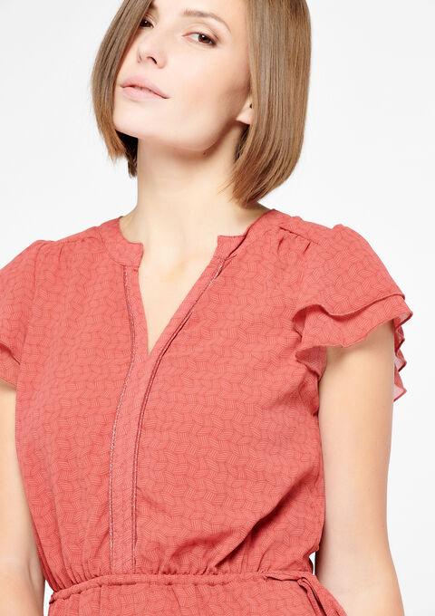 Korte jurk met v-hals - COSMI PINK - 08100240_4101